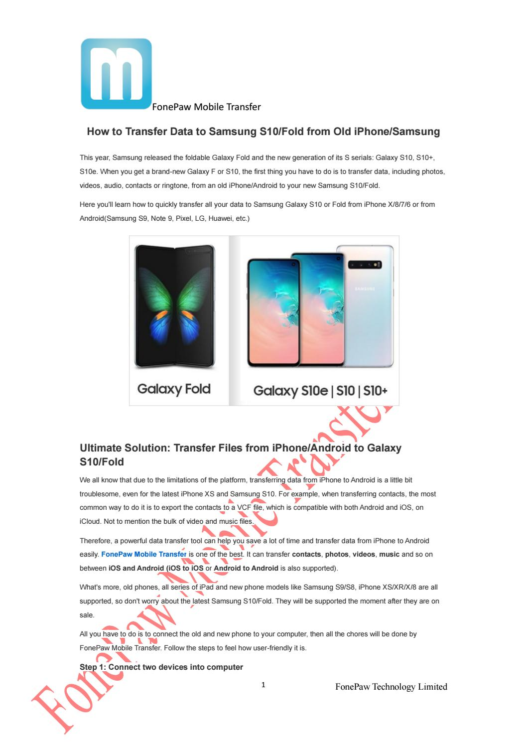 How to Transfer Data to Samsung S10/Fold from Old iPhone