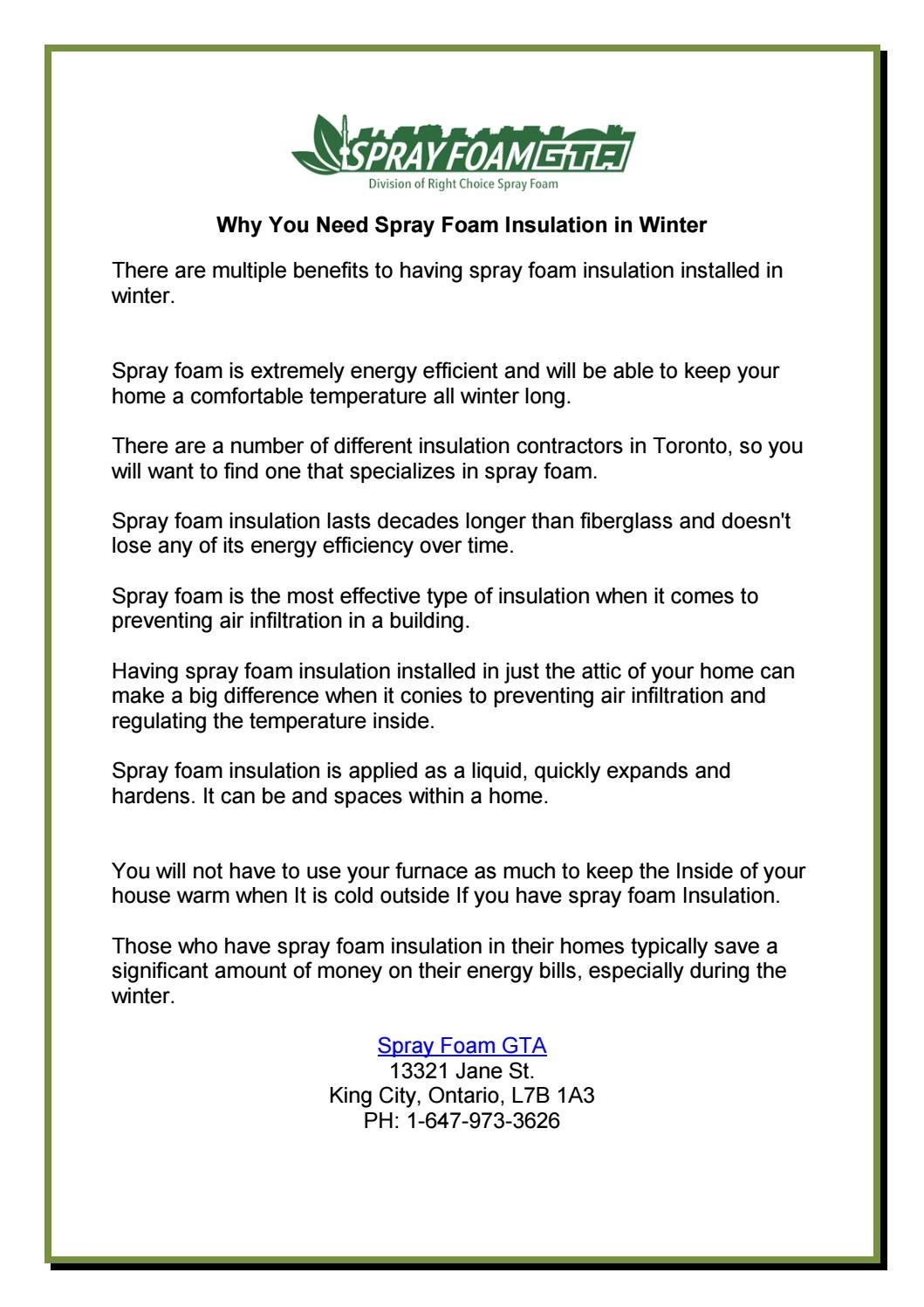 Why You Need Spray Foam Insulation in Winter by rubyquinn38