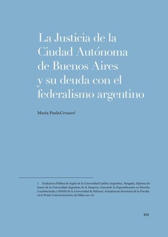 """Page 101 of María Paula Cevasco, a Justicia de la Ciudad Autónoma de Buenos Aires y su deuda con el federalismo argentino"""""""