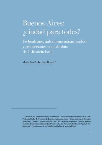 """Page 11 of María José Lubertino, """"Buenos Aires: ¿Ciudad para todes? Federalismo, autonomía maximizadora y restricciones en el ámbito de la Justicia local"""