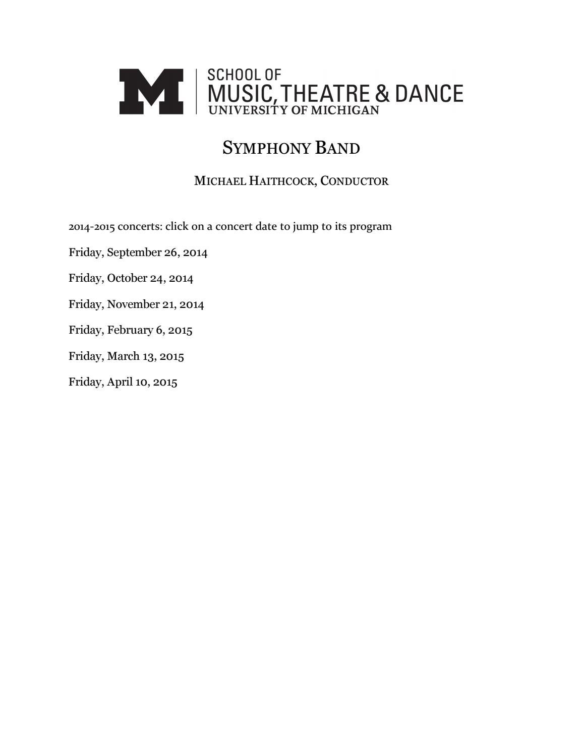 U-M Symphony Band, 14-15 Season by University of Michigan