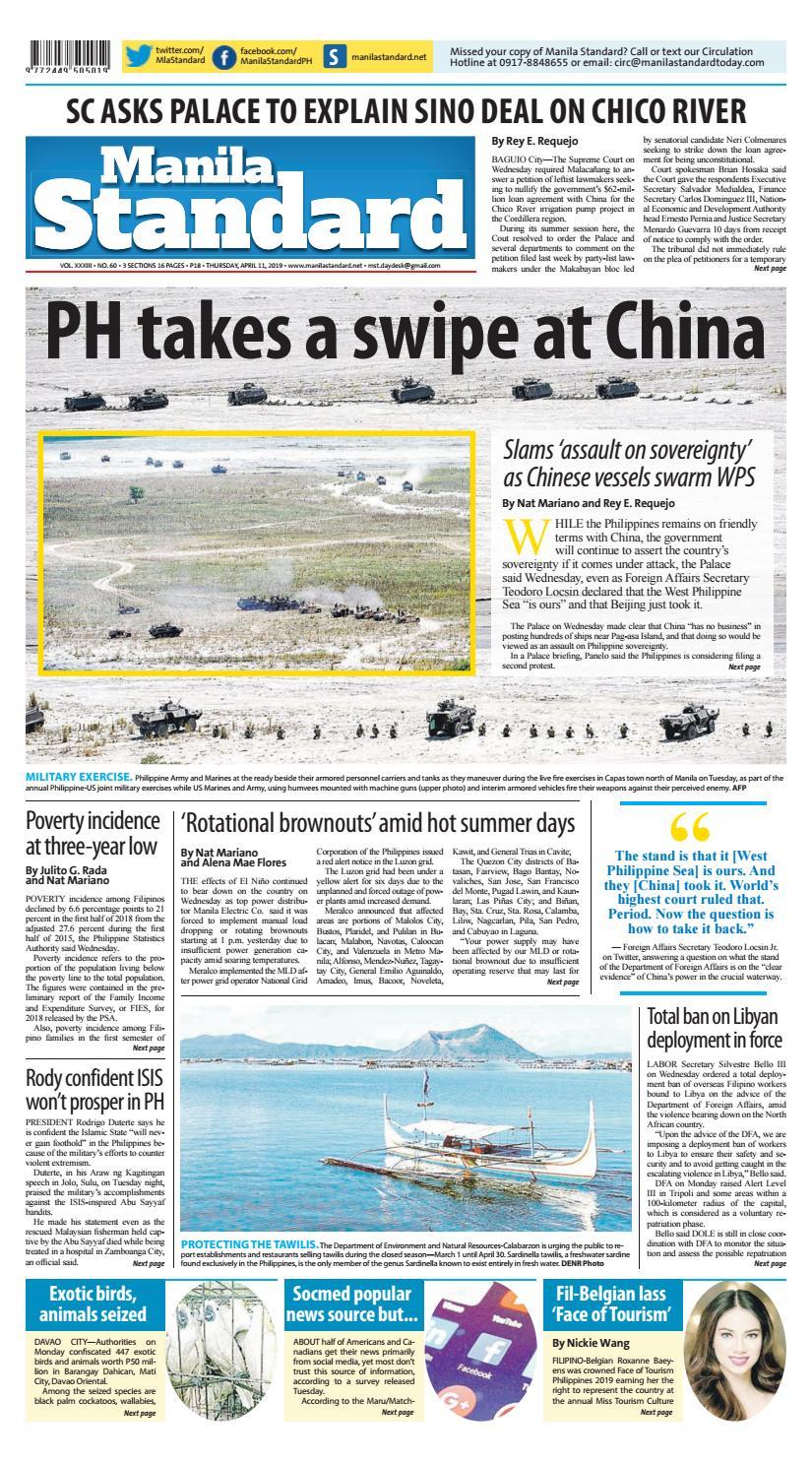 Manila Standard - 2019 April 11 - Thursday by Manila