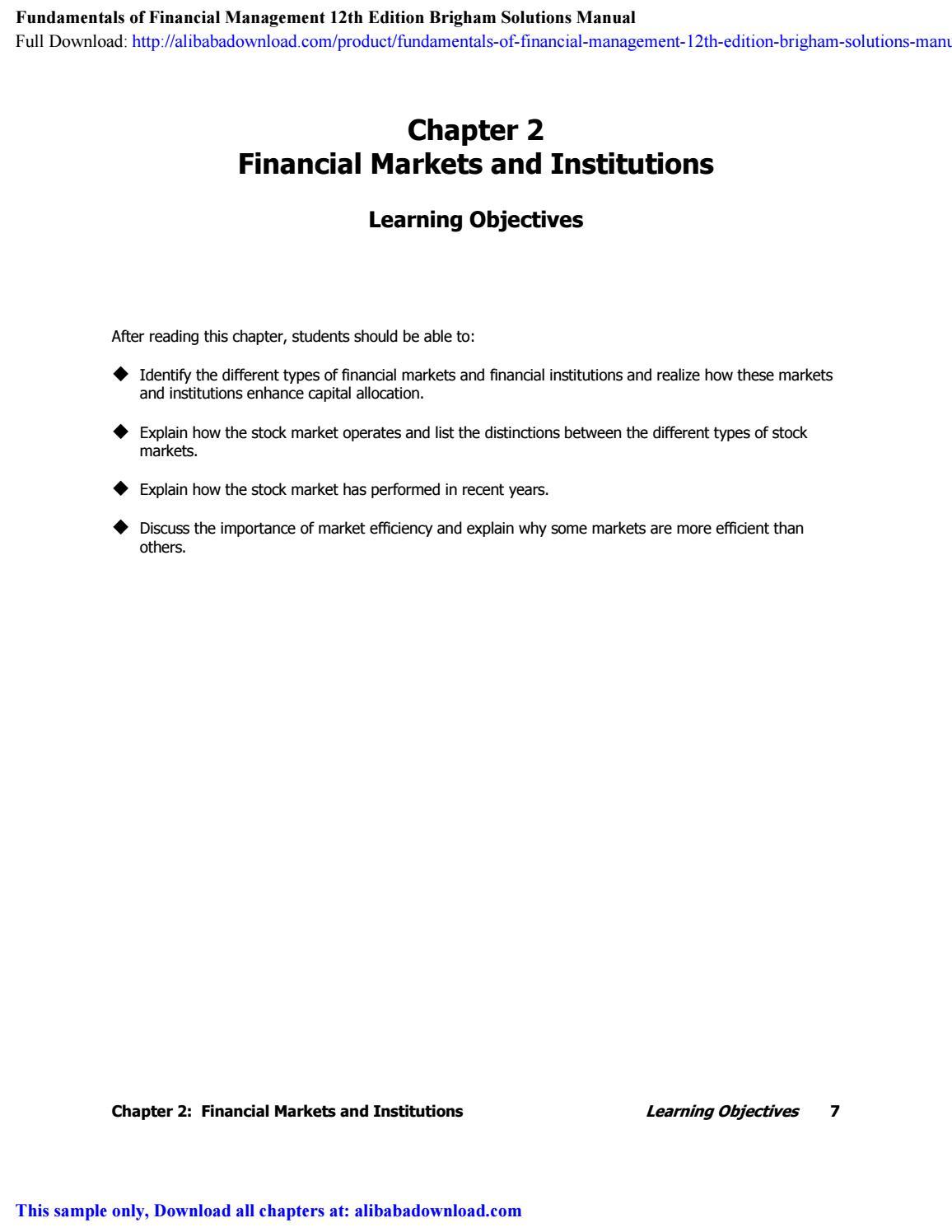 Fundamentals of Financial Management 12th Edition Brigham Solutions