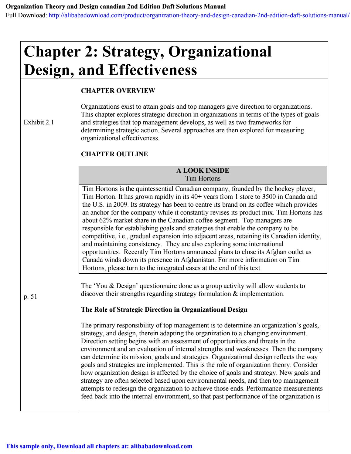 Organization Theory And Design Canadian 2nd Edition Daft Solutions Manual By Fischer Issuu