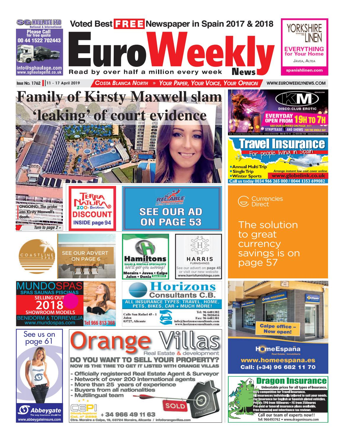 81eb2e1f38968 Euro Weekly News - Costa Blanca North 11 - 17 April 2019 Issue 1762 by Euro  Weekly News Media S.A. - issuu