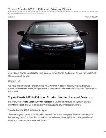 Toyota Corolla 2019 In Pakistan Price And Specs By Abdul Moiz Issuu