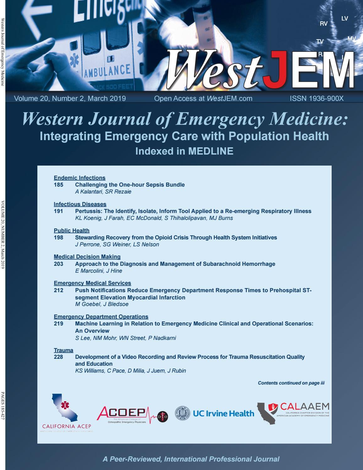 Volume 20 Issue 2 by Western Journal of Emergency Medicine