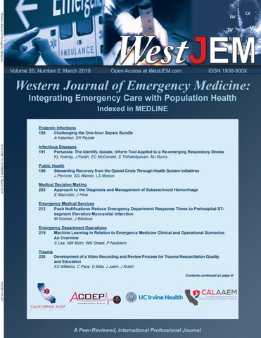 Volume 20 Issue 2 by Western Journal of Emergency Medicine