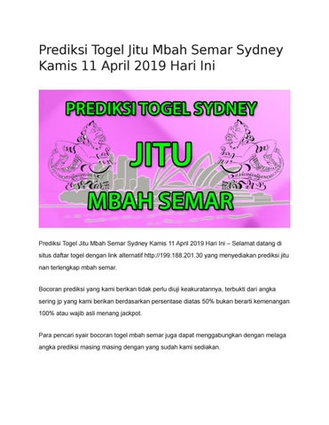 Prediksi Togel Jitu Mbah Semar Sydney Kamis 11 April 2019 Hari Ini