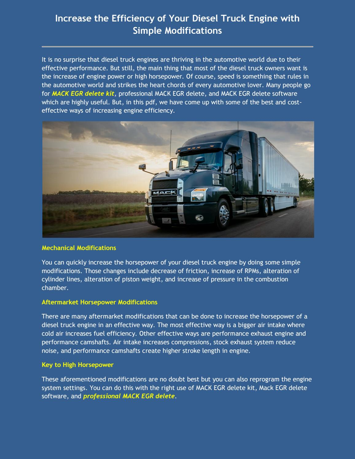 Increase the Efficiency of Your Diesel Truck Engine with Simple