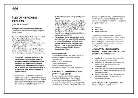 Levothyroxine Dihydrochloride 0 5mg 1mg Film Coated Tablets Pil Taj Pharmaceuticals By Taj Pharma Issuu