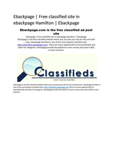 Ebackpage | Free classified site in ebackpage Hamilton