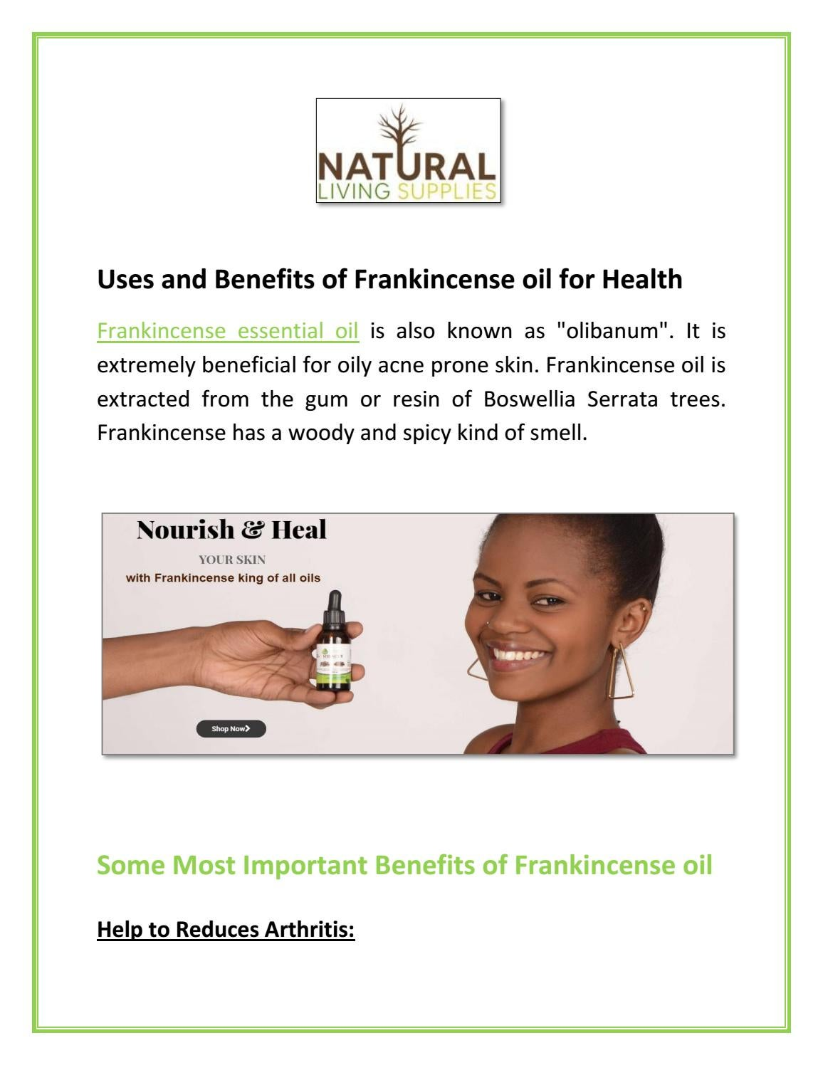 Uses and Benefits of Frankincense oil for Health