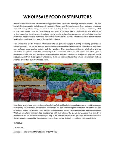 WHOLESALE FOOD DISTRIBUTORS by E Armata Inc  - issuu