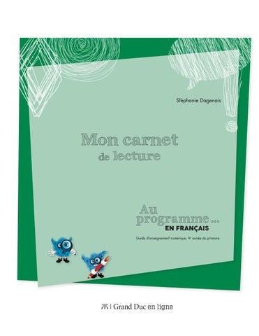 Carnet De Lecture Au Programme En Francais 4e Annee By