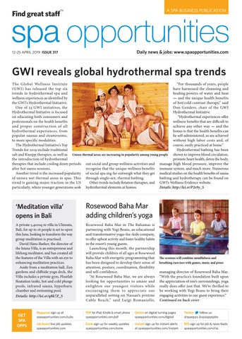 Spa Opportunities 12th April 2019 Issue 317 by Leisure Media - issuu