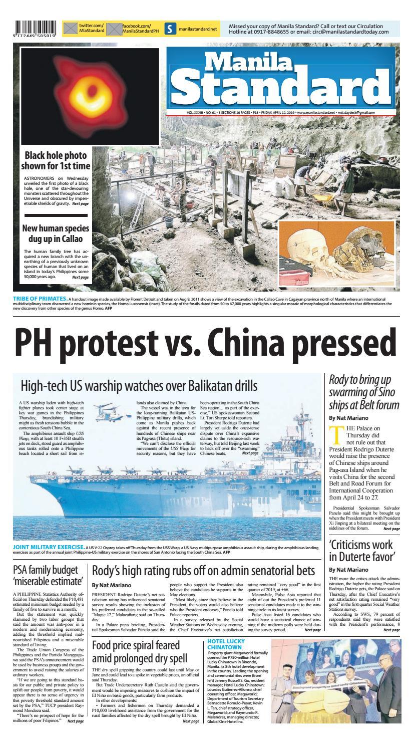 Manila Standard - 2019 April 12 - Friday by Manila Standard