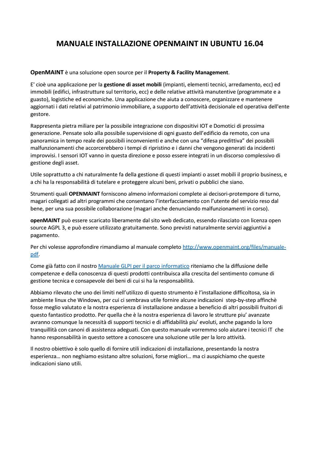 MANUALE INSTALLAZIONE OPENMAINT IN UBUNTU 16 04 - ITALIANO
