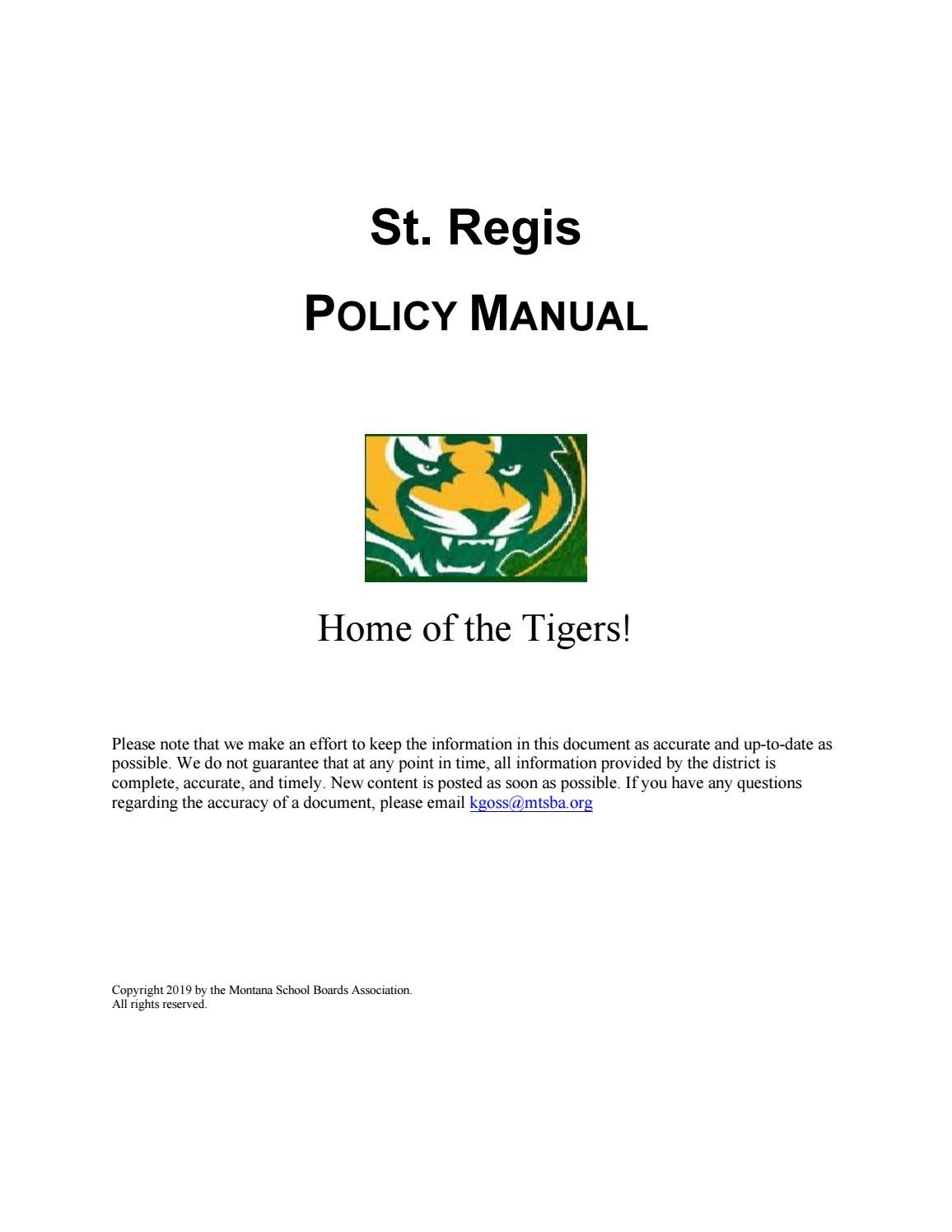 St  Regis Public Schools Policy Manual by Montana School Boards