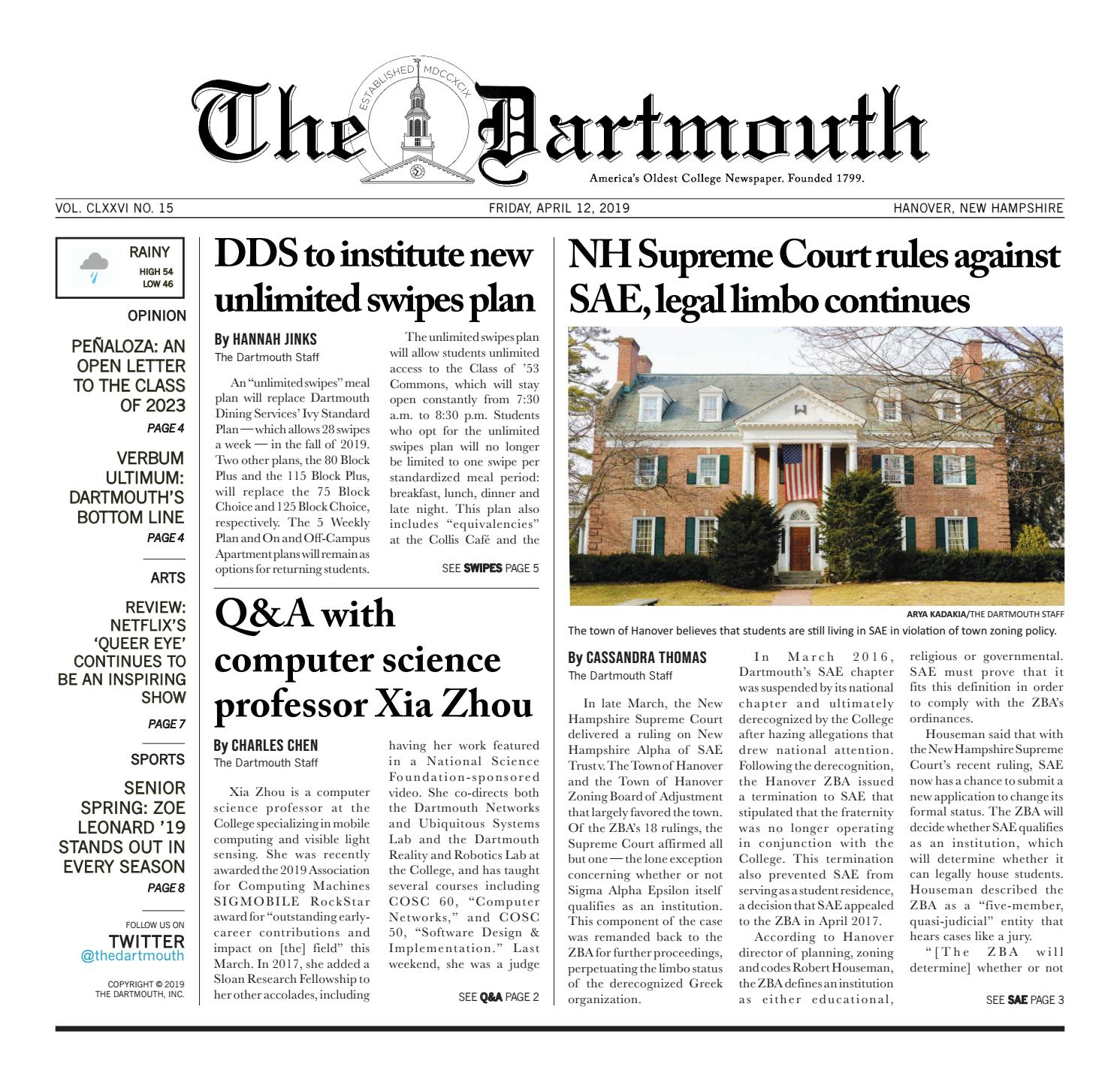 The Dartmouth 04/12/2019 by The Dartmouth Newspaper - issuu