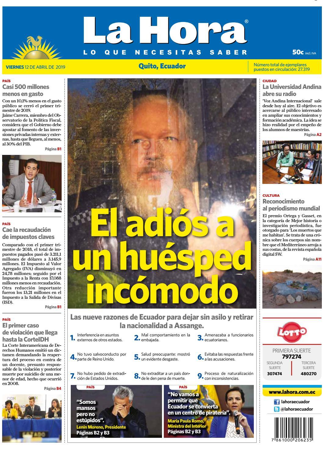 49fe577d44256 Quito 12 de abril de 2019 by Diario La Hora Ecuador - issuu