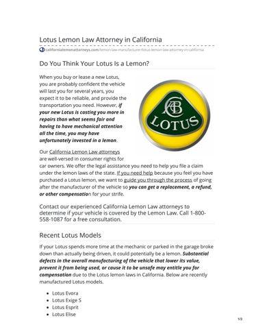 Lemon Law California >> Lotus Lemon Law Attorney In California By California Lemon