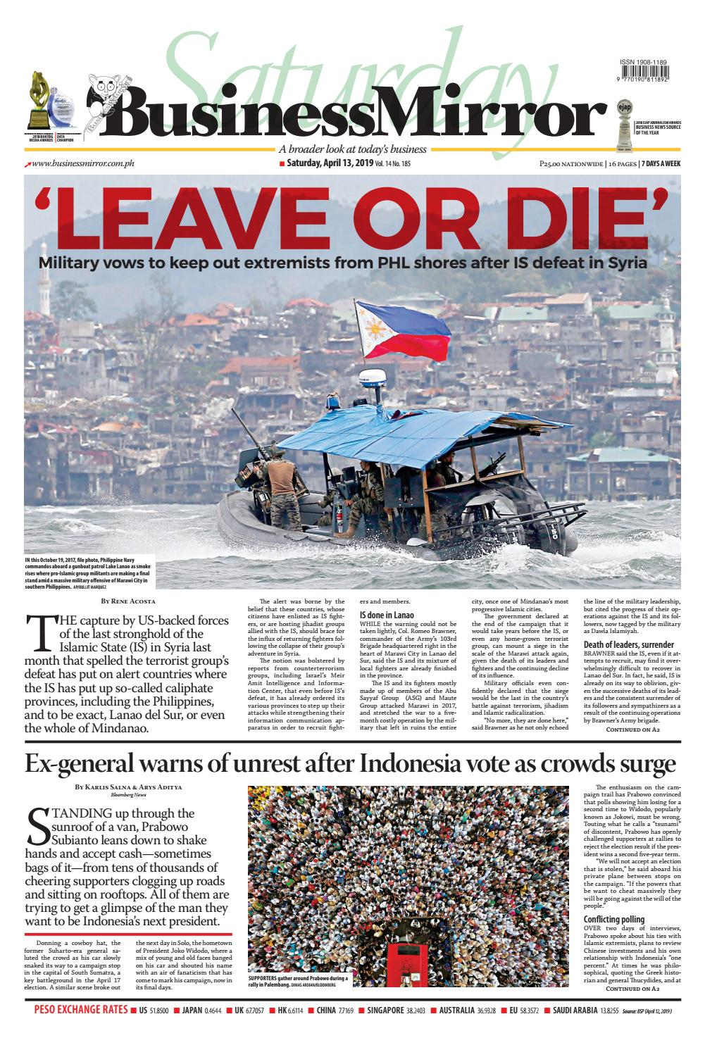 Businessmirror April 13, 2019 by BusinessMirror - issuu