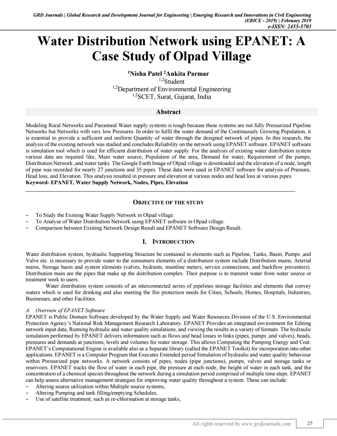 Water Distribution Network Using Epanet A Case Study Of Olpad Village By Grd Journals Issuu
