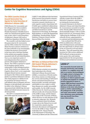 Page 10 of UM the First Institution in FL to Use Neuroimaging to Identify Earliest Changes Association with Alzheimer's disease