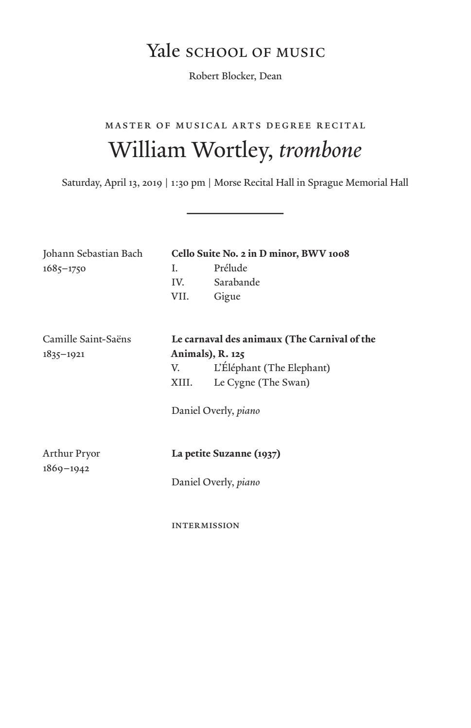 William Wortley, trombone, April 13, 2019 by Yale School of