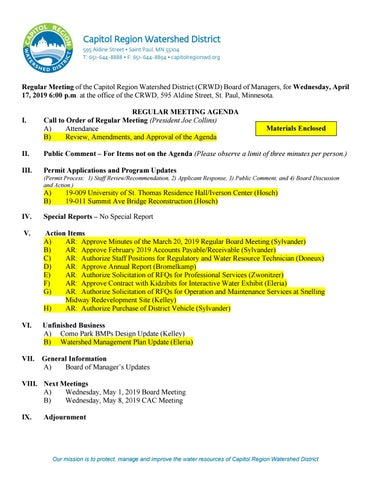 April 17 Board Meeting Packet by Capitol Region Watershed District
