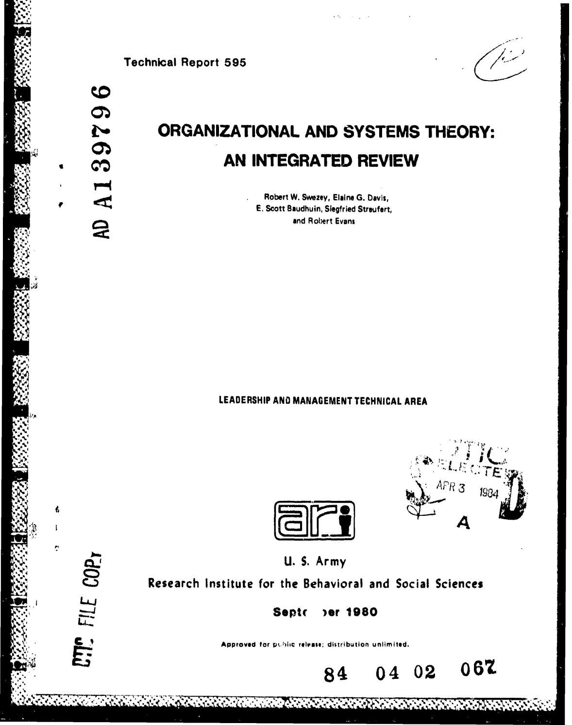Organizational And Systems Theory An Integrated Review By