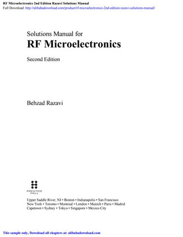 RF Microelectronics 2nd Edition Razavi Solutions Manual by Karma - issuu
