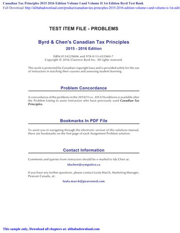 Canadian Tax Principles 2015 2016 Edition Volume I And Volume Ii 1st Edition Byrd Test Bank By Aatrox Issuu