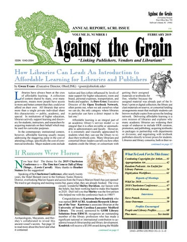 Against the Grain v 31 #1 February 2019 by against-the-grain - issuu