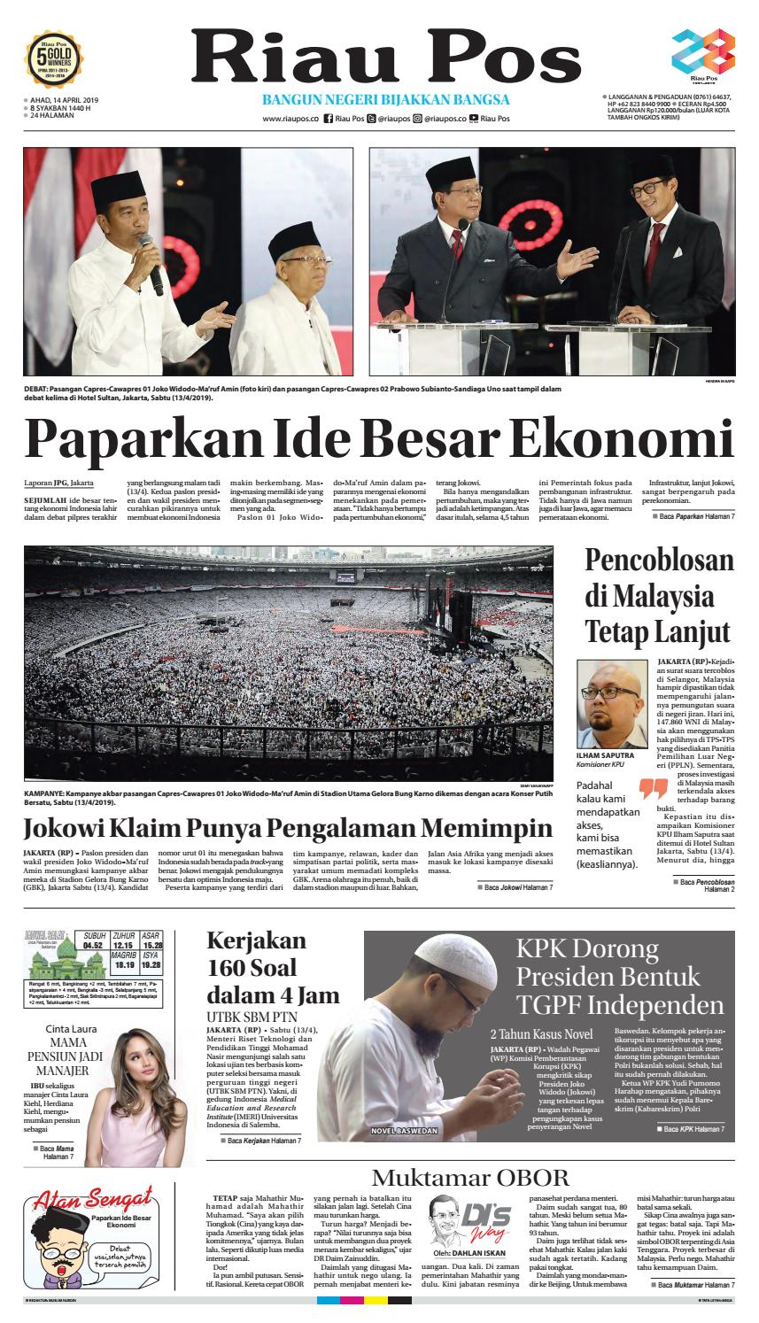 Riau Pos Edisi 14 April 2019 By Riau Pos Issuu