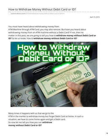 Withdraw Money Without Debit Card Or Id