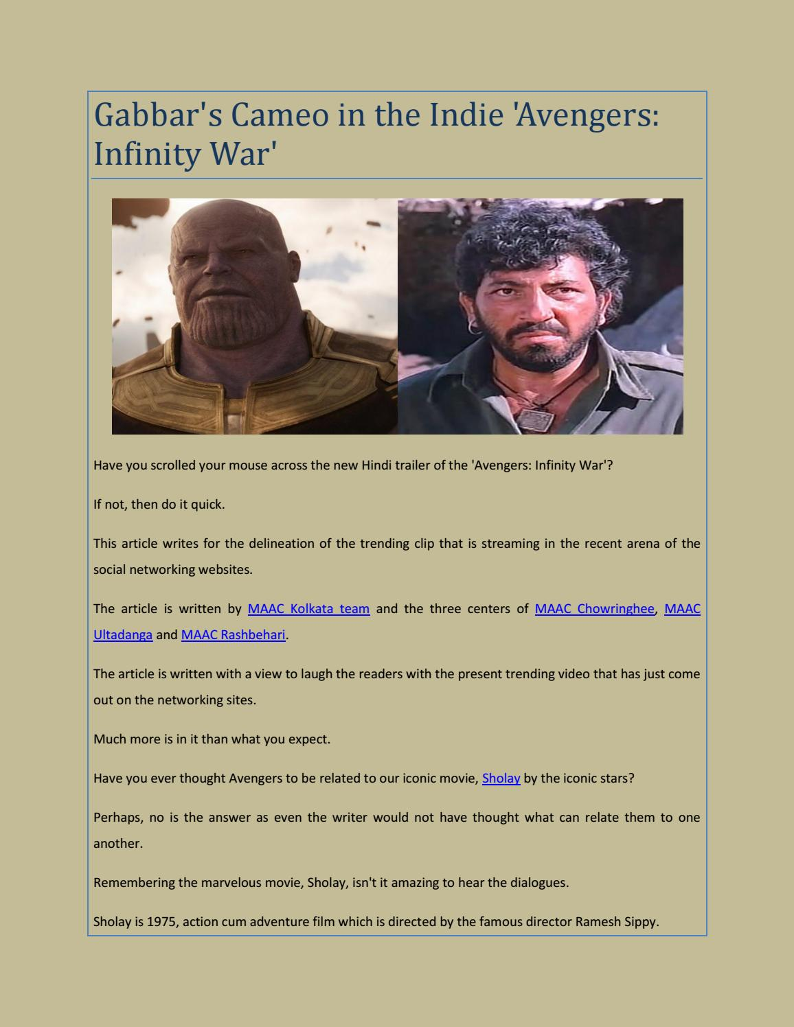 Gabbar's Cameo in the Indie Avengers Infinity War by MAAC