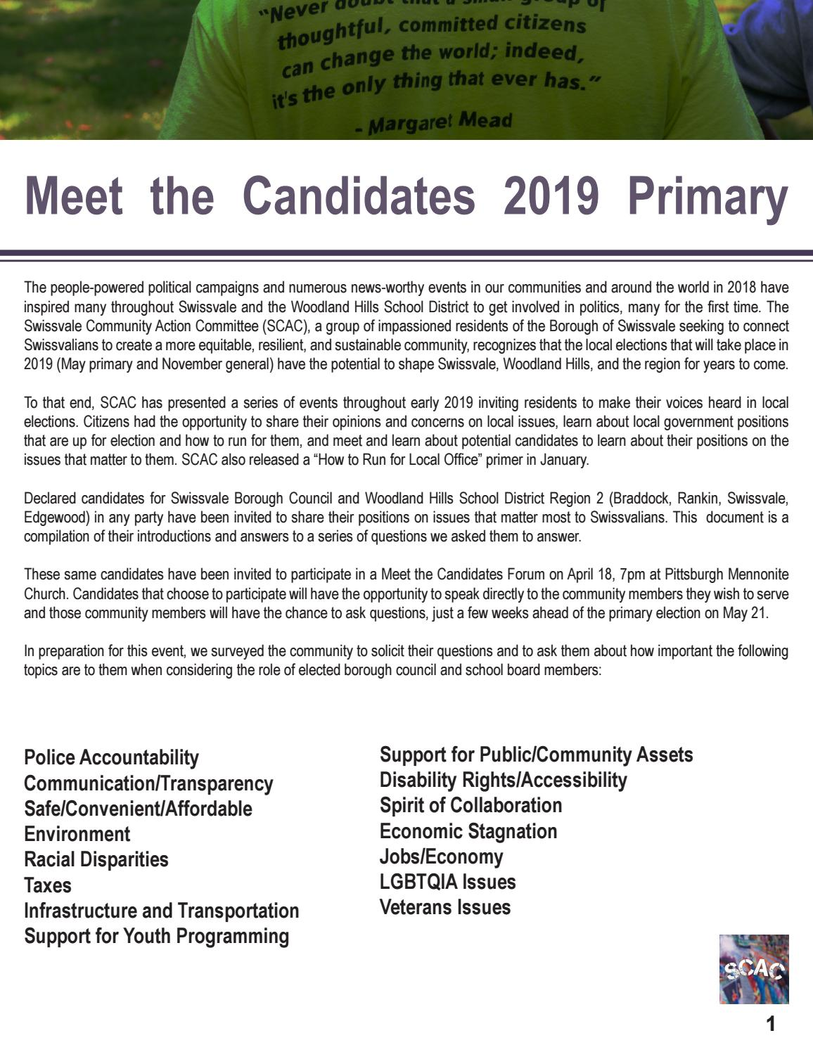 Meet the Candidates 2019 Primary by Porter Loves - issuu