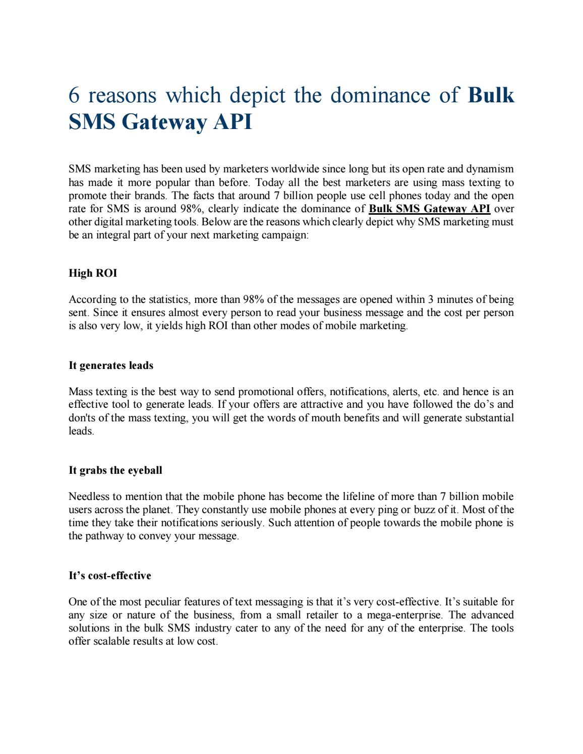 Bulk SMS Gateway API-6 Reasons Which Depict the Dominance by Kaveri
