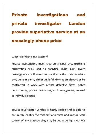 Private Investigator London by JSD EXPERT - issuu