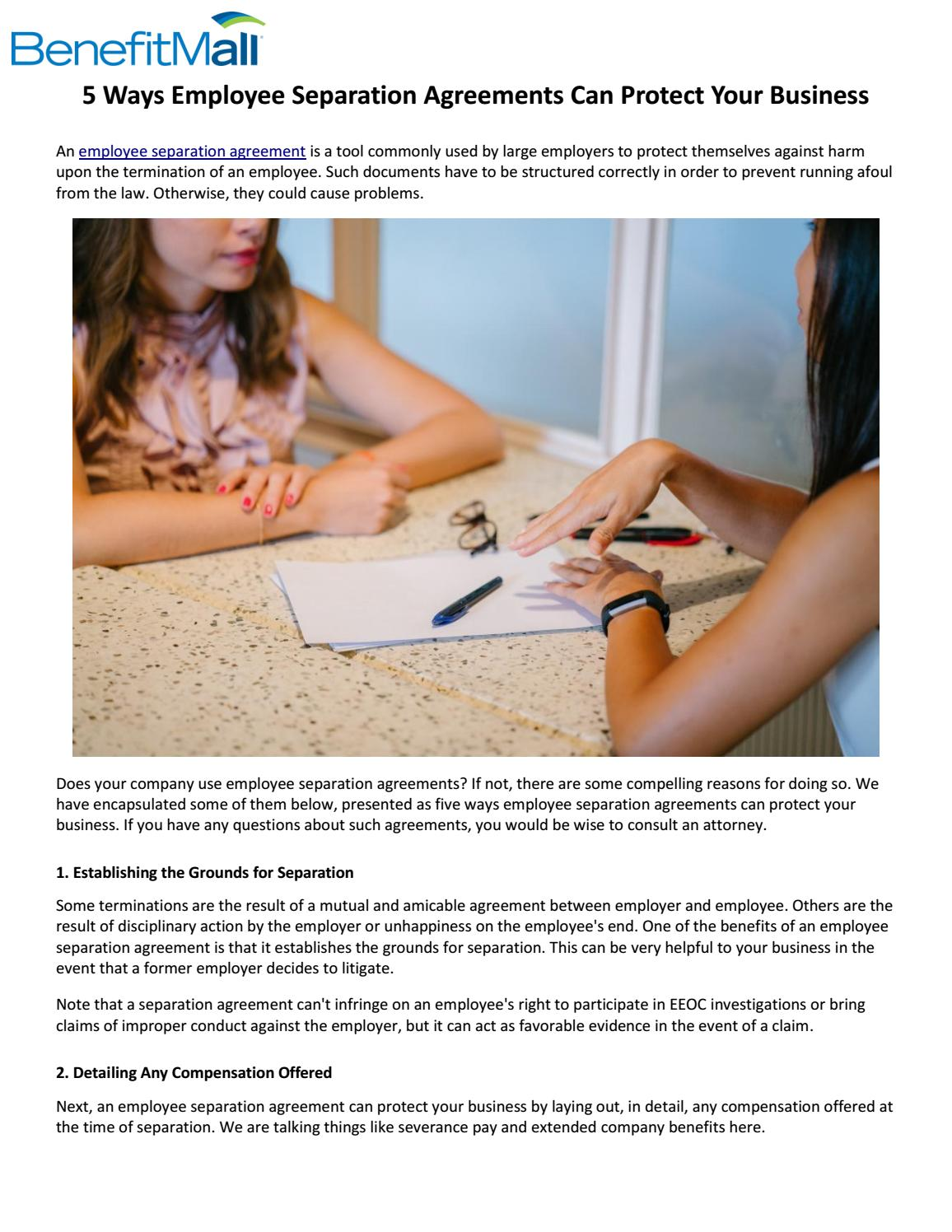 5 Ways Employee Separation Agreements Can Protect Your