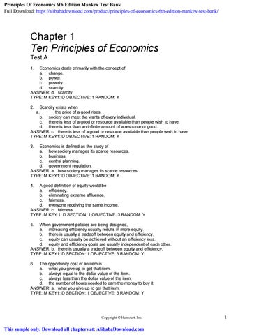 Principles Of Economics 6th Edition Mankiw Test Bank By