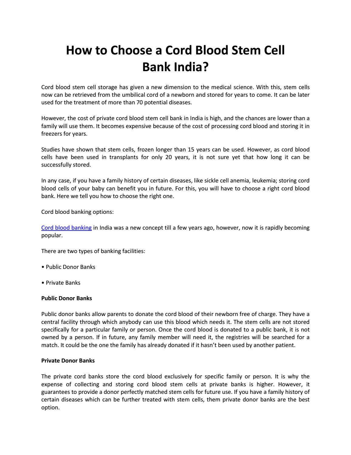 Cord Blood Banking Cost >> How To Choose A Cord Blood Stem Cell Bank India By Sara