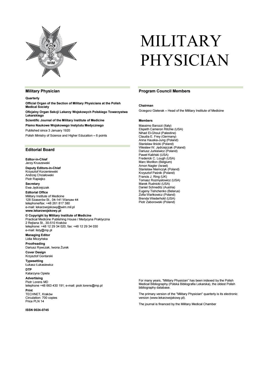 Lekarz Wojskowy 4 2018 Eng Ver By Medycyna Praktyczna Issuu