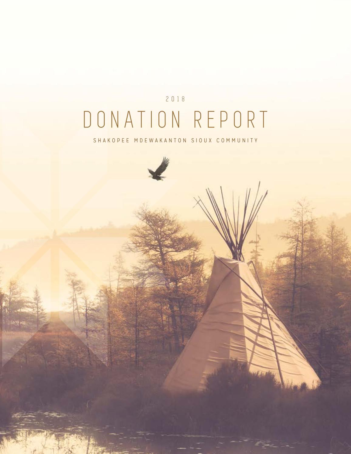 2018 SMSC Donation Report by Shakopee Mdewakanton Sioux