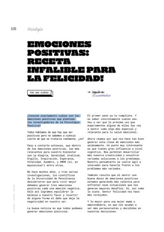 Page 18 of Emociones positivas: receta infalible para la felicidad!