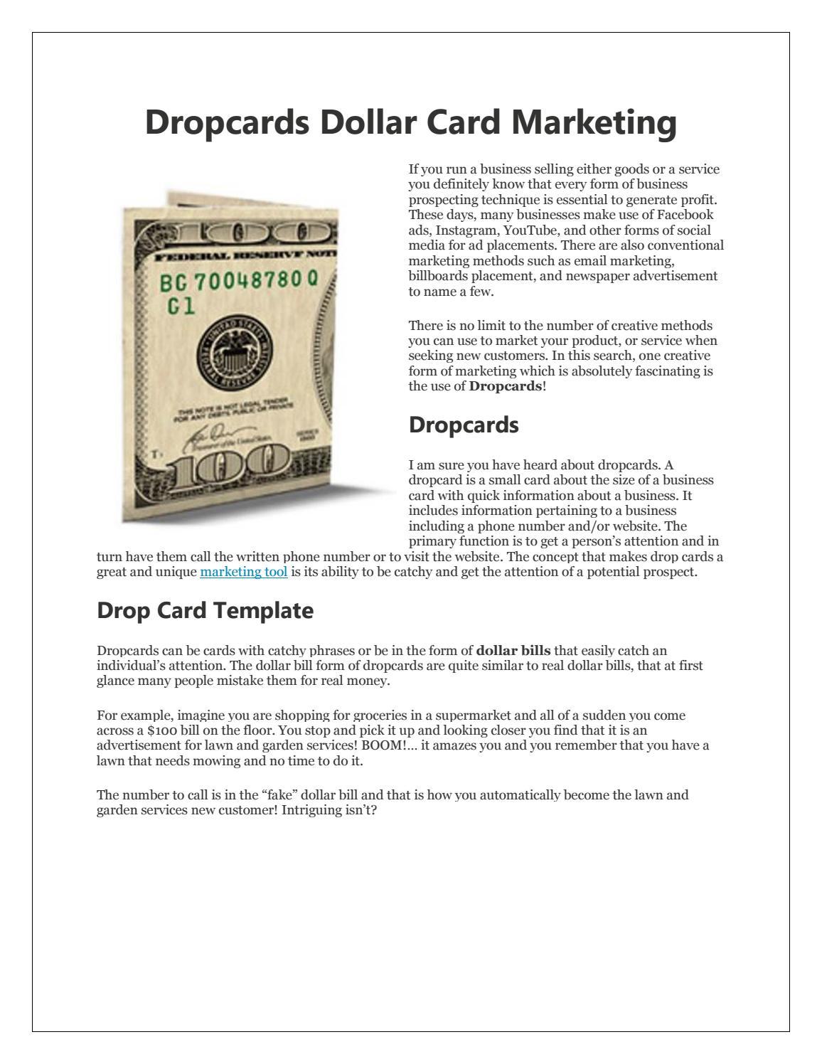 Dropcards Dollar Card Marketing by Amelia Kelly - issuu