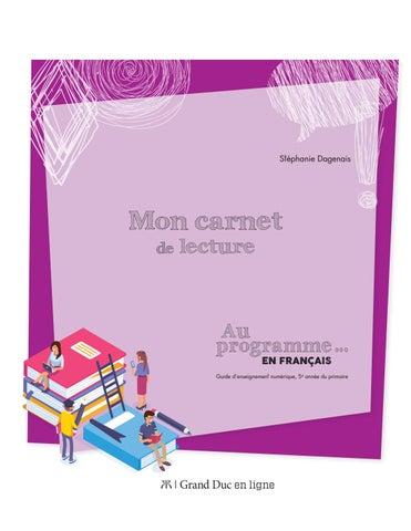 Carnet De Lecture Au Programme En Francais 5e Annee By