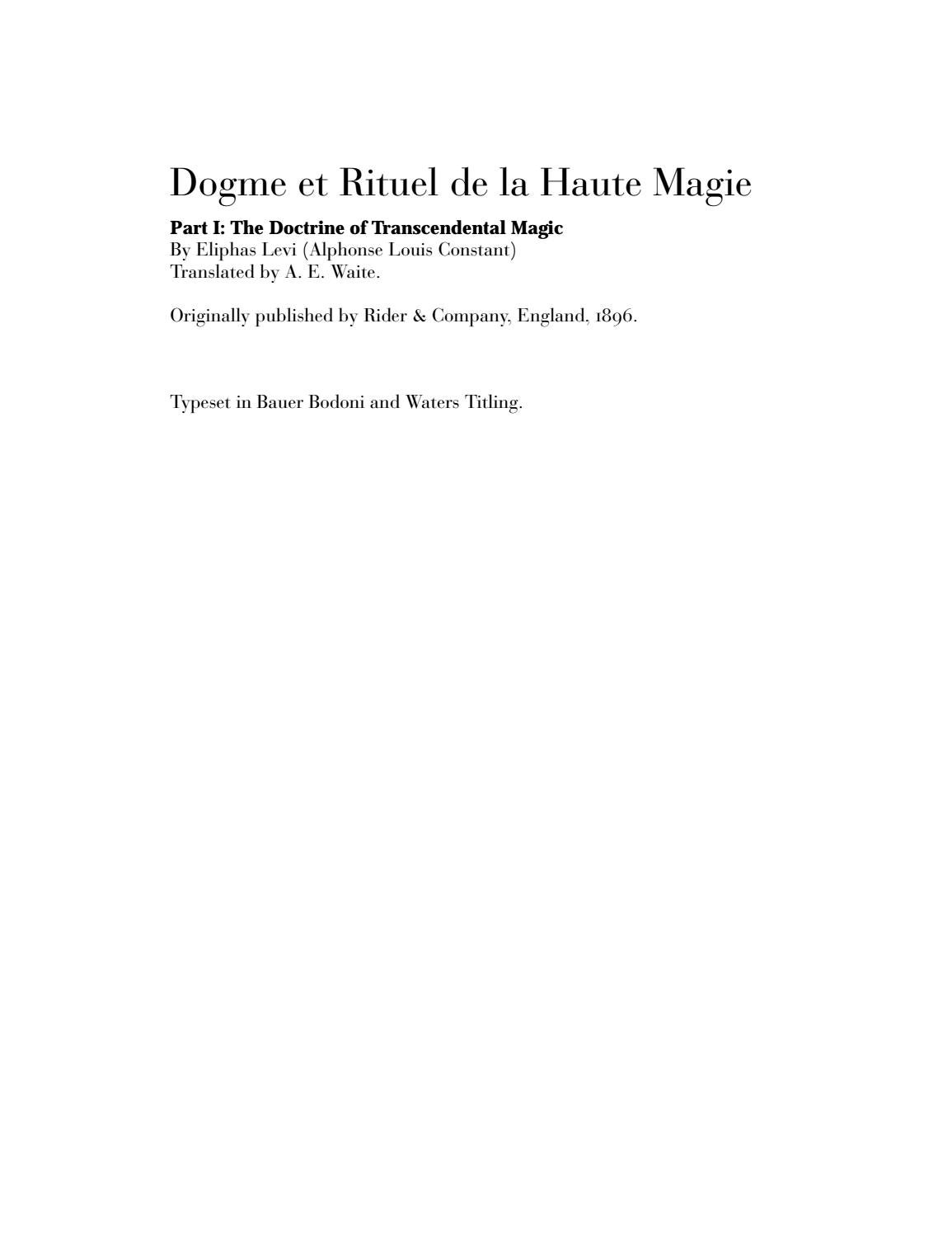 Transcendental Magic: Its Doctrine and Ritual by Eliphas